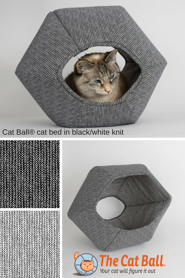 The CAT BALL cat bed made in a black and white knit pattern