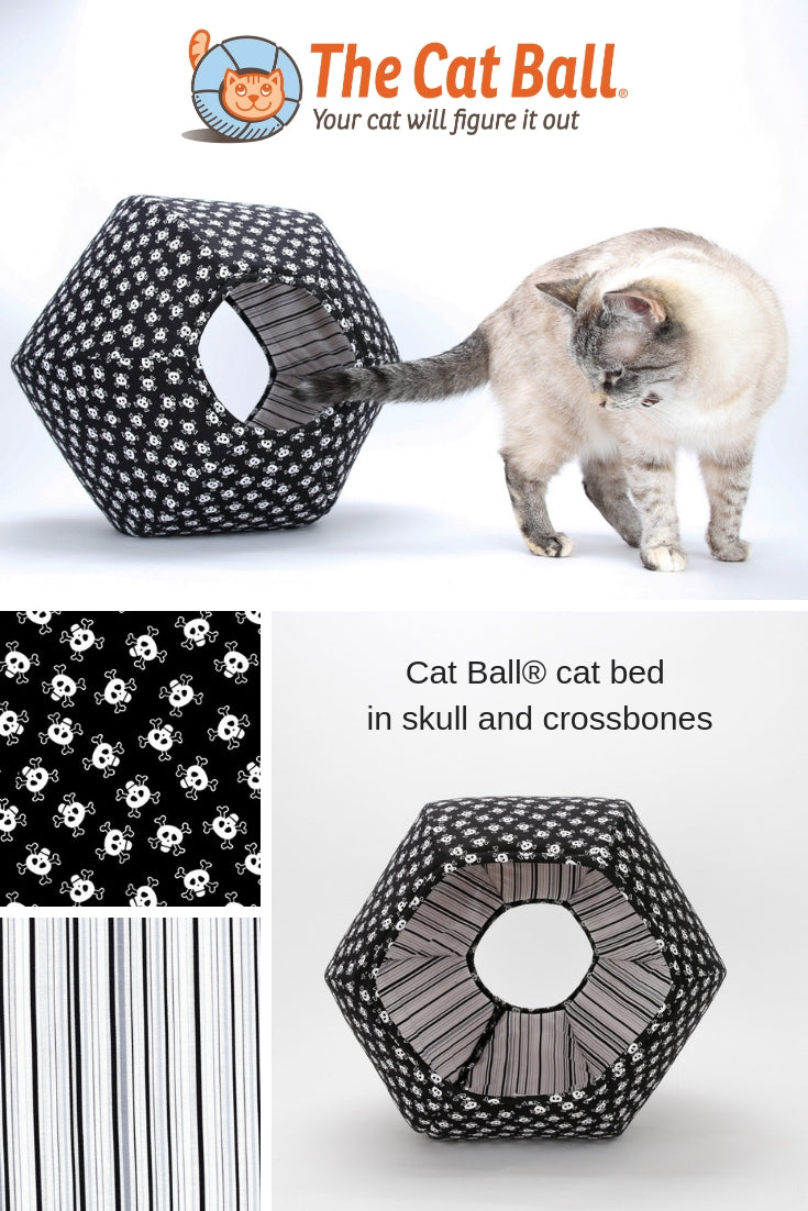 Can your cat talk like a pirate? We've made the perfect cat bed for pirate cats and punk rock pets! Our Cat Ball® cat bed is made here in a skull and crossbones fabric. Our Cat Ball® is hexagonal and has two openings, allowing cats the choices that they demand. Made in USA. Fits pets to about 18 pounds. #thecatball