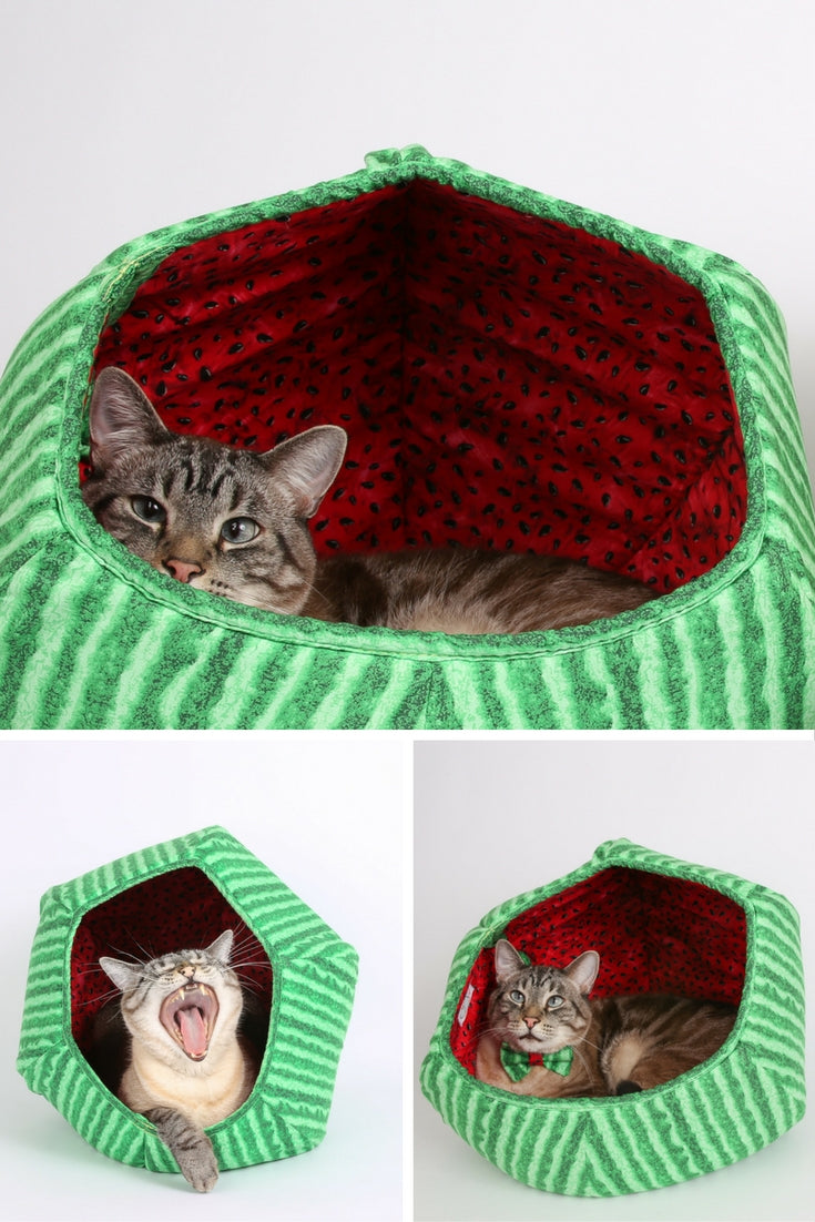 The Cat Ball modern pet bed made in watermelon fabric