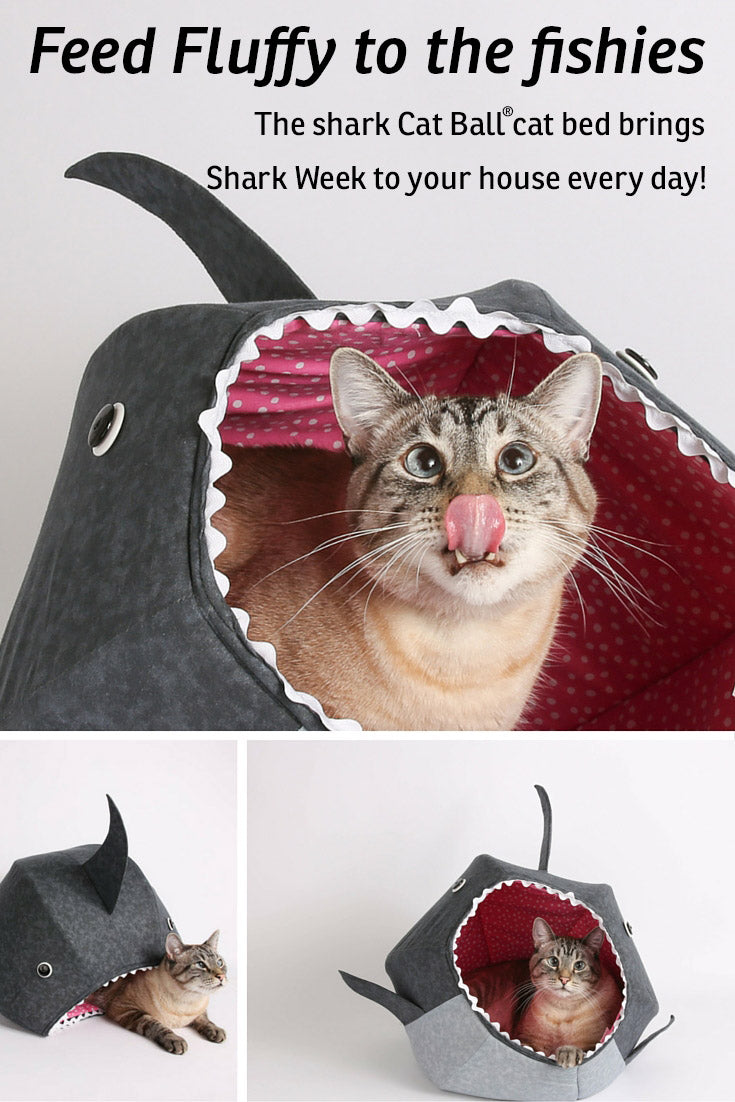 The shark Cat Ball cat bed is a funny pet bed that brings Shark Week to your home all year long!