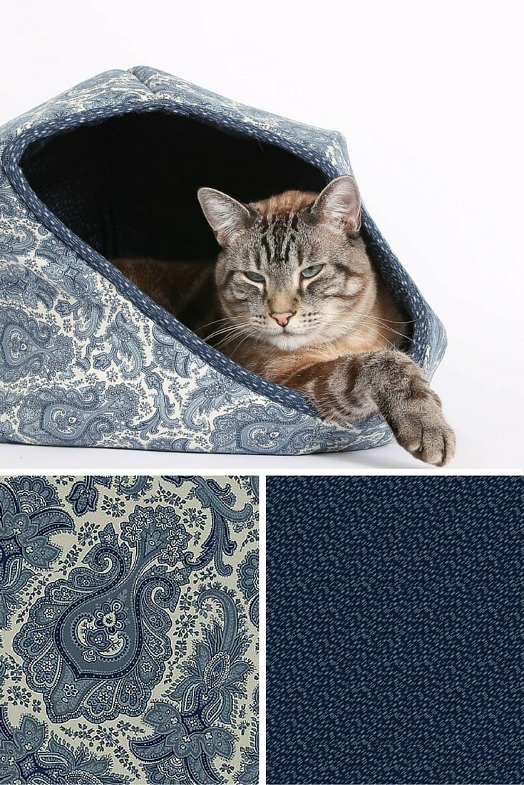 The CAT BALL cat bed made in a fabric from the Riley Blake Meadow collection