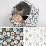 The Cat Ball cat bed is made in a variety of contemporary fabrics