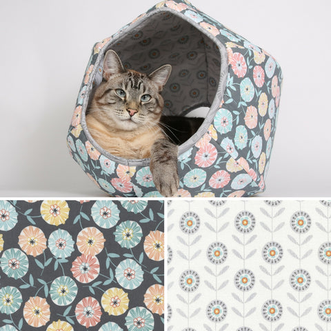 The Abstract Fall Flowers Cat Ball cat bed