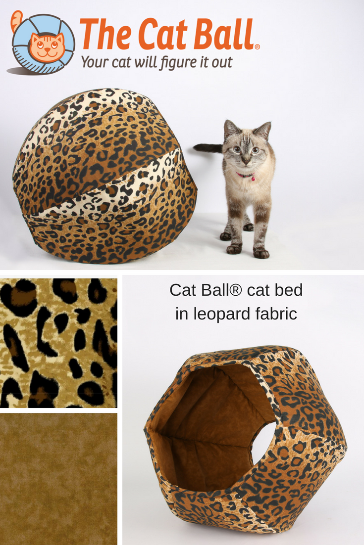 The Cat Ball® cat bed is a hexagonal cat bed with two openings. Our original modern cat bed design is made in a classic leopard fabric. This pod style cat bed is made in the USA