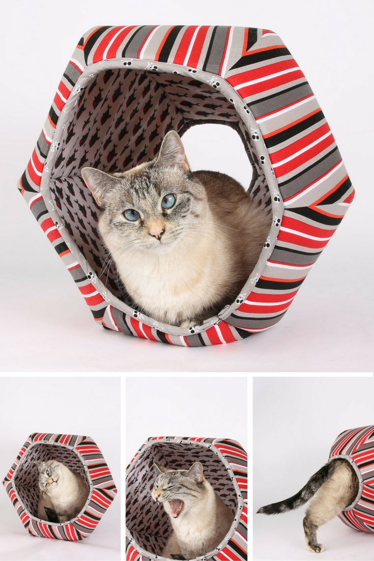 Cat Ball® cat bed in stripes and sharks fabric, a pirate cat bed design