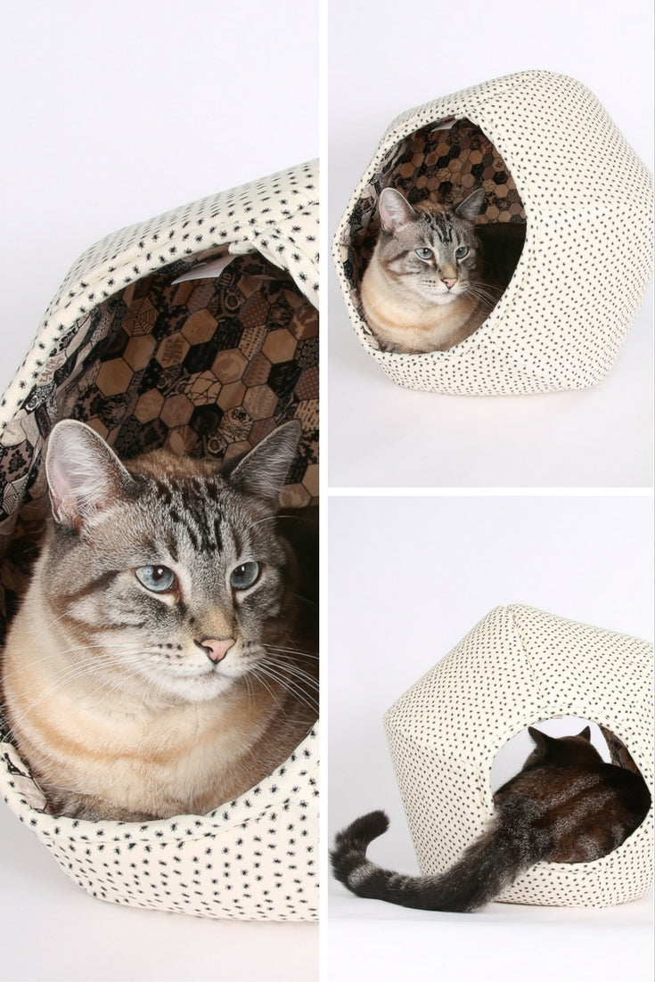 The CAT BALL cat bed made in spooky spiders fabric