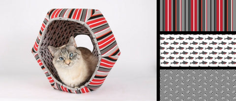 Cat Ball cat bed in striped and shark fabric for pirate cats