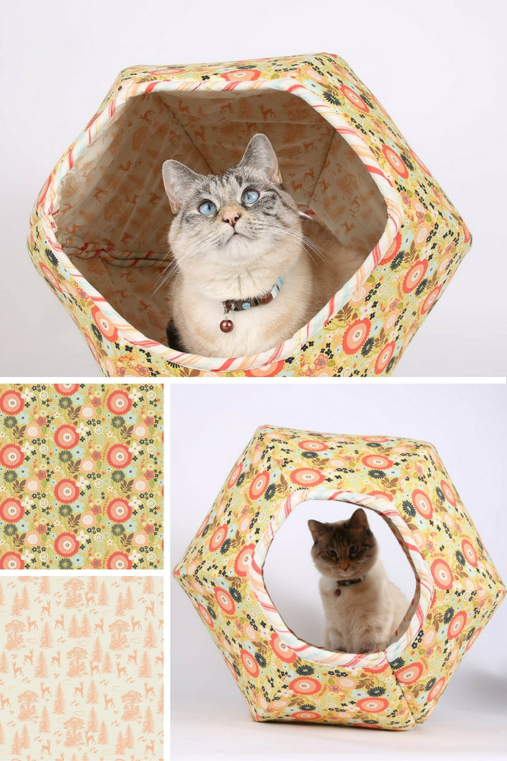 The Woodlands Flower Cat Ball cat bed is made with Riley Blake fabrics