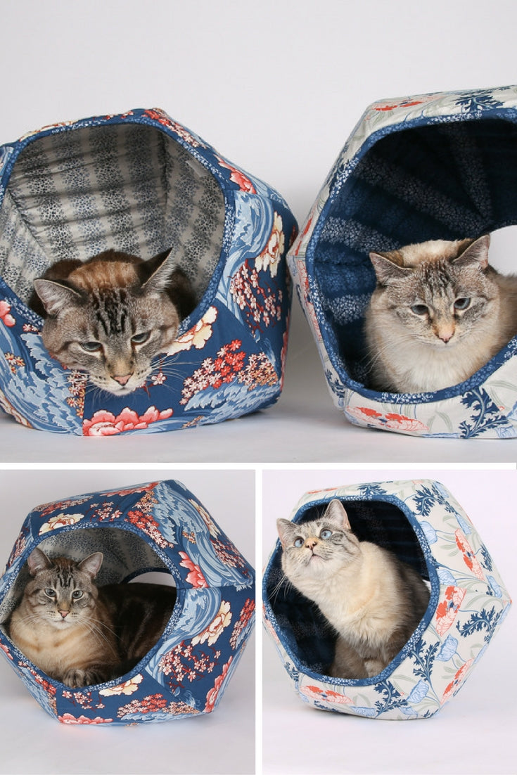 Cat Ball modern cat bed made in Art Nouveau inspired floral fabrics