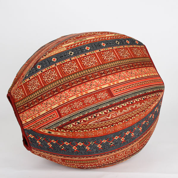 Cat Ball bed made in cayenne red and multi Hoffman fabric with metallic gold details