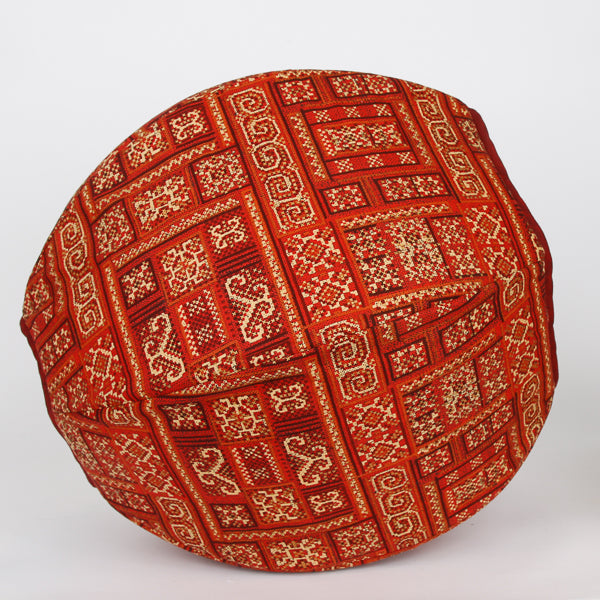 Cat Ball bed made in cayenne red Hoffman fabric with metallic gold details