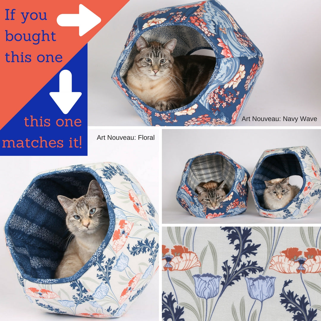 The Cat Ball in coordinating Art Nouveau floral fabric options