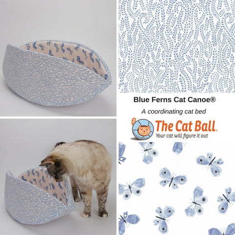 Cat Canoe cat bed made in blue ferns and butterflies fabric