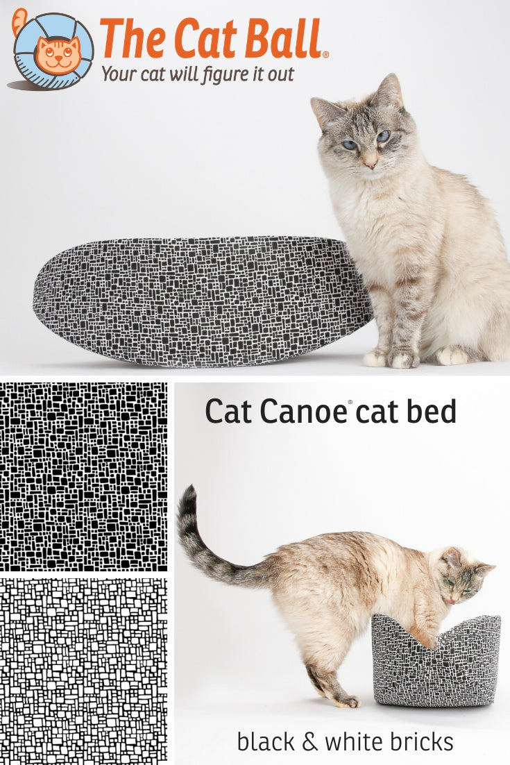 Cat Canoe modern cat bed made in a black and white brick pattern