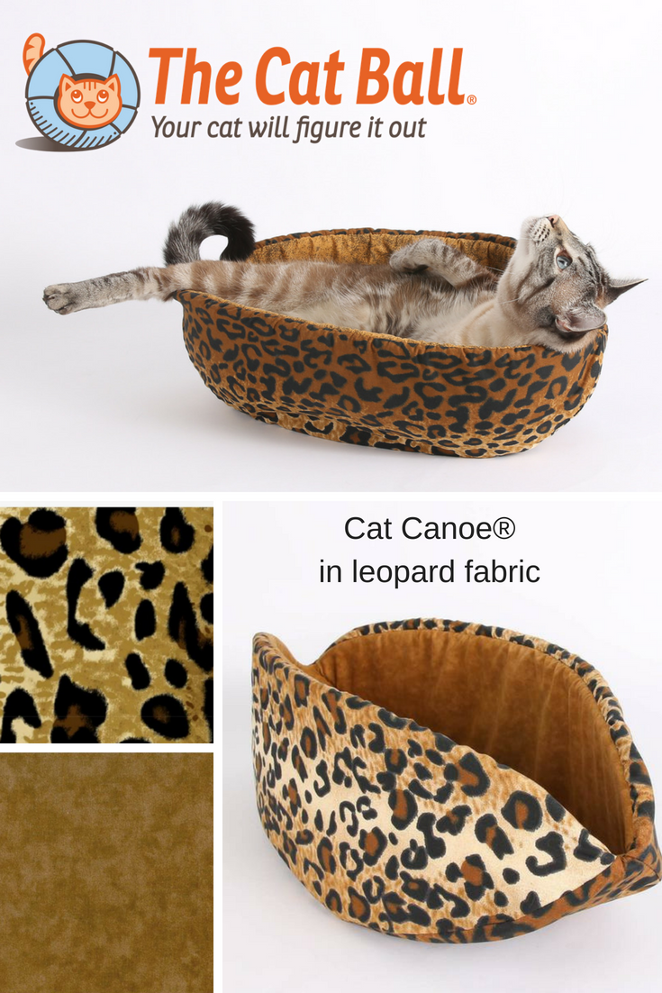 The Cat Canoe modern cat bed made in leopard fabric. This modern cat bed is made in the USA with all cotton fabrics and foam