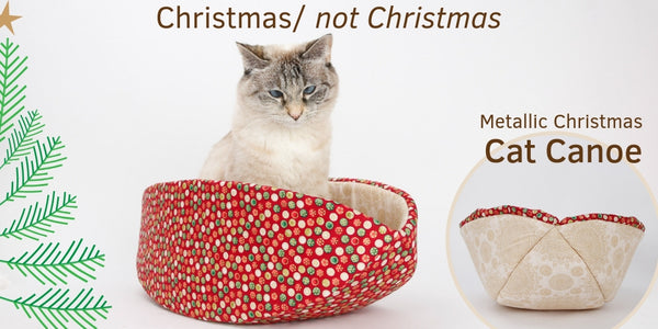 Cat Canoe in metallic Christmas fabrics