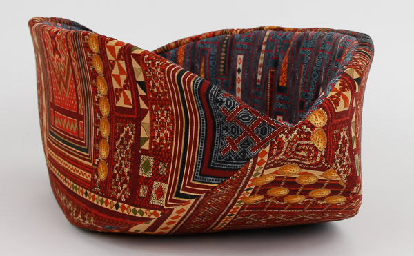 Cat Canoe bed made in burgundy and multi color kilim fabric with metallic gold details
