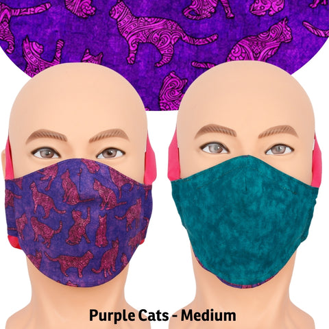 Reversible face mask made with purple and pink cat fabric