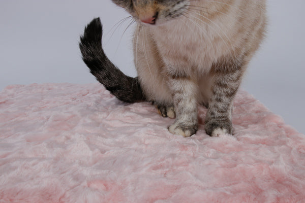 This cat sleeping mat is made in a pink faux fur that is short with a swirled texture, and is very soft.