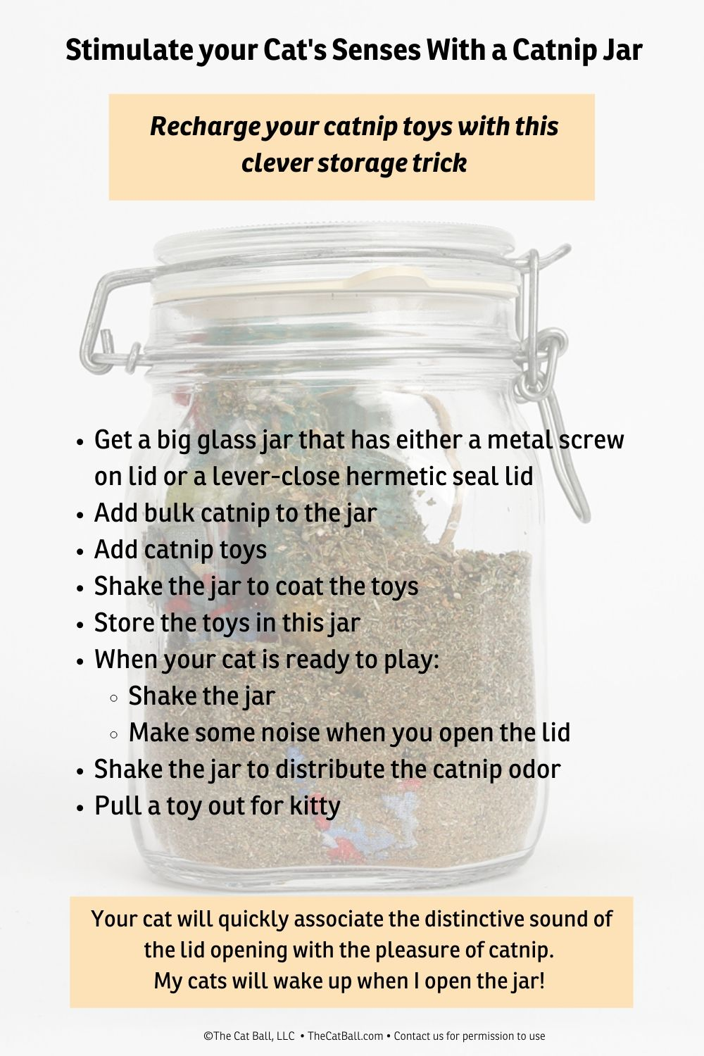 Create a catnip marinade jar to keep your catnip toys fresh