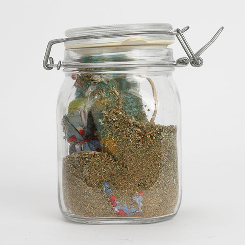 Example of a good jar to use as a catnip marinade for storing cat toys