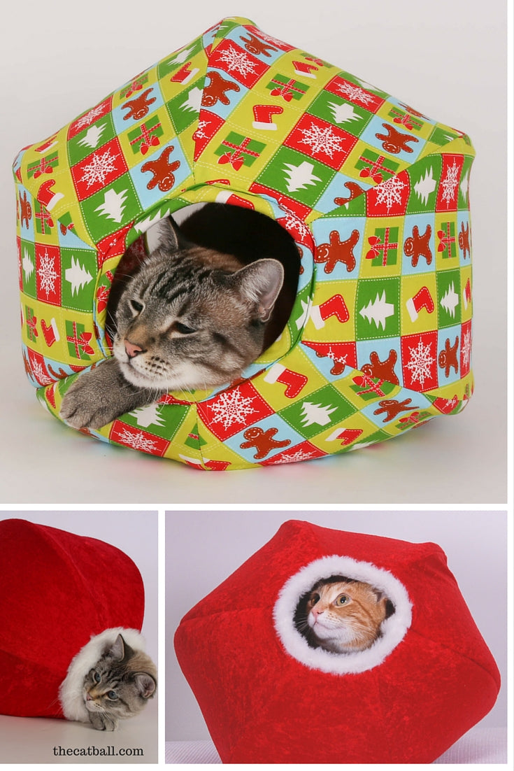 Christmas CAT BALL cat bed styles by The Cat Ball, LLC
