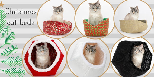 Christmas fabric cat bed designs by The Cat Ball, LLC