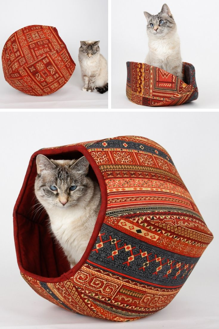 Coordinating cat bed designs made in kilim rug fabric