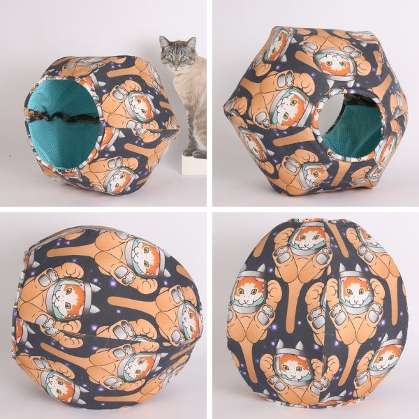 Custom fabric Cat Ball® cat bed made with a large astronaut cat fabric, printed by Spoonflower