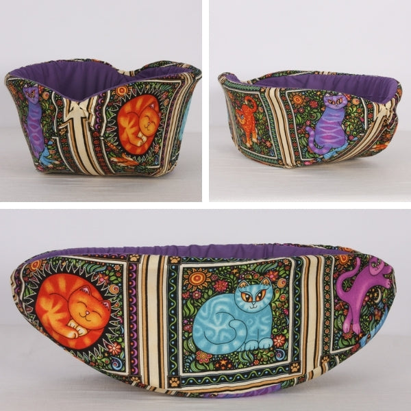 Custom Cat Canoe® modern cat bed made with a fun cat fabric that the customer provided