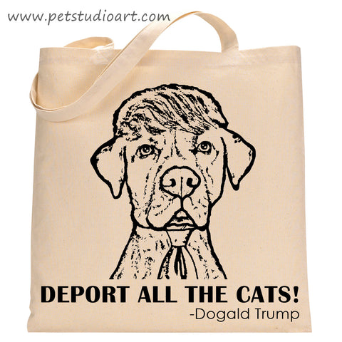 Political dog tote bag featuring Dogald Trump made by PetStudioArt on Etsy