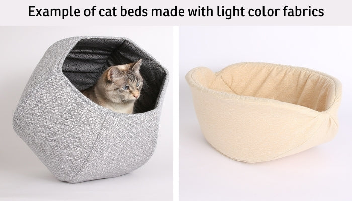 Examples of our designer cat beds made with light color fabrics that work well