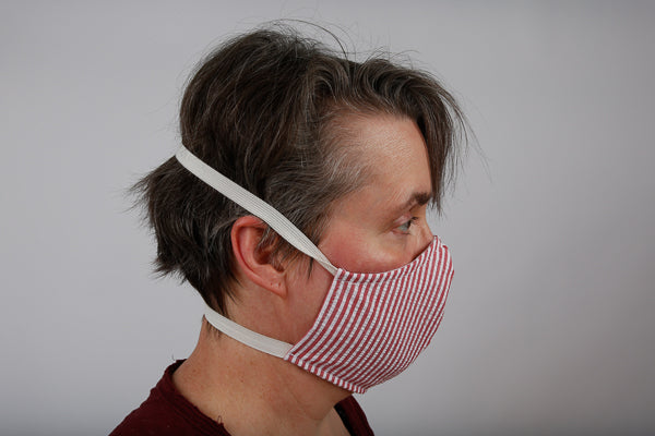 Our face mask with a behind the head elastic design