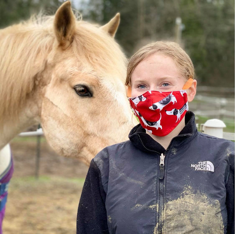 Our reversible face mask style has an adjustable headband and many people find it comfortable to wear when working or exercising