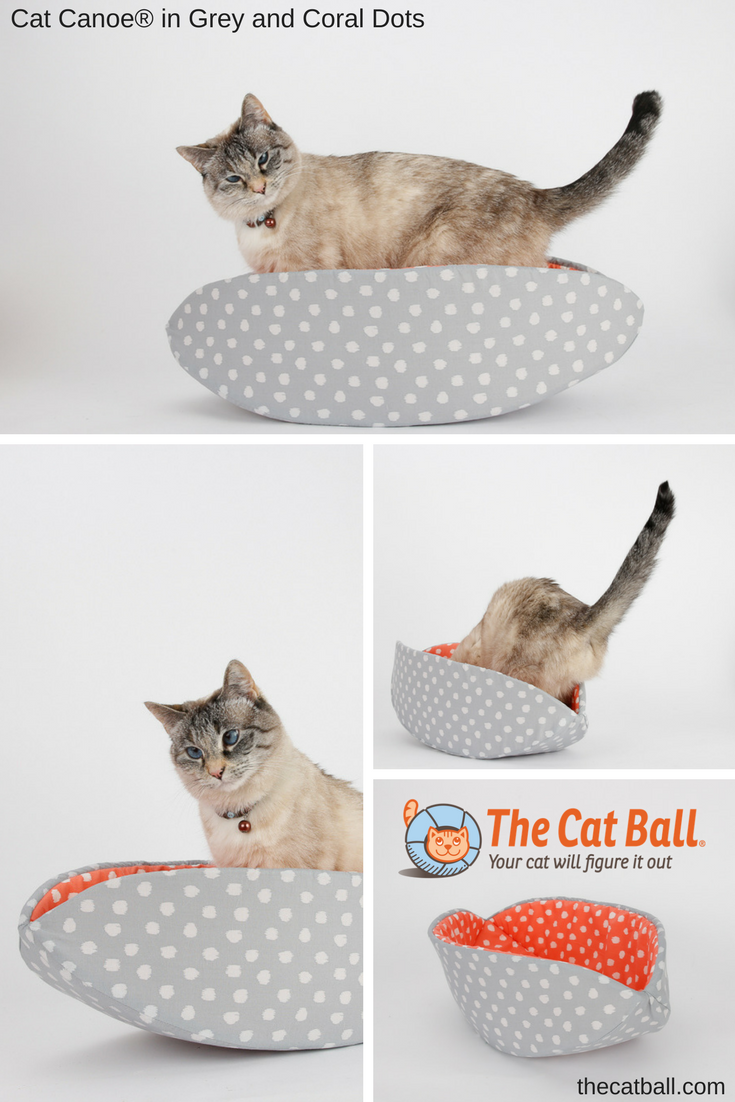 The CAT CANOE modern cat bed made in grey and coral polka dots fabric