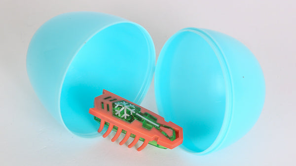 Put a HEXBUG robotic toy into a plastic Easter egg for a great cat toy