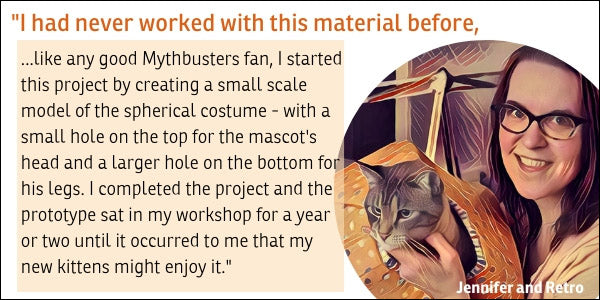 Jennifer created the Cat Ball cat bed while working as a costume designer
