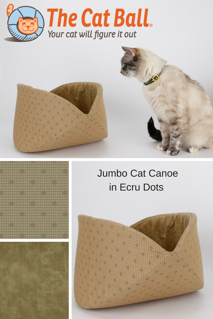 Jumbo size Cat Canoe made in neutral ecru fabric from the Manor House collection