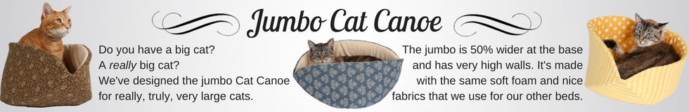 The jumbo Cat Canoe is a modern cat bed designed for very large cats