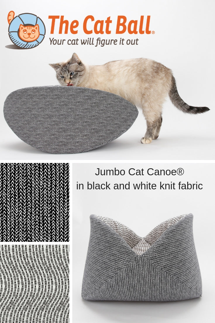 Jumbo Cat Canoe kitty bed made in black and white cotton fabrics