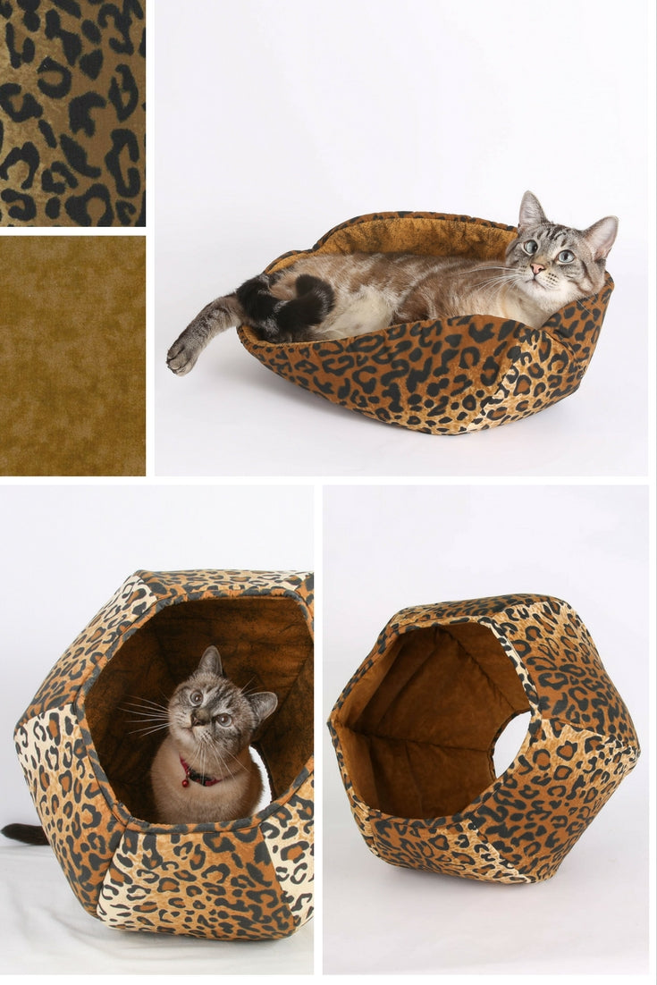 Leopard cat bed styles made by The Cat Ball company