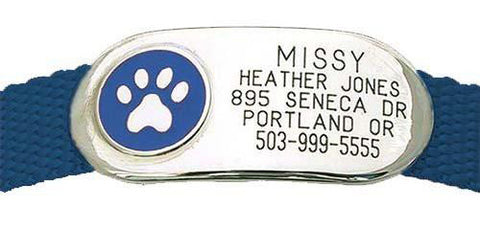 Lucky Pet engraved collar ID tag lays flat on the pet's neck