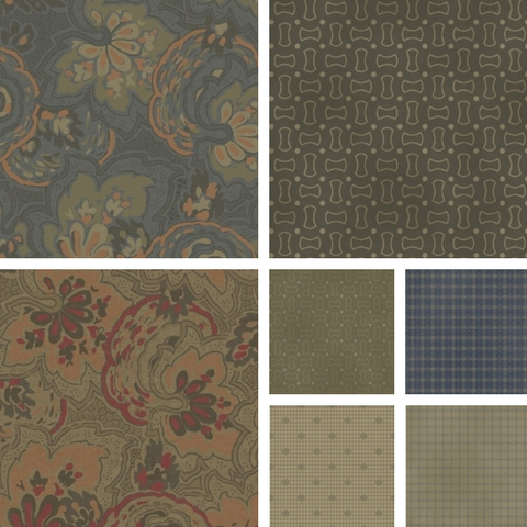 The Manor House fabric collection is a group of Windham fabrics we are using to create coordinating cat beds