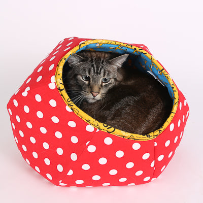 A 15 pound cat crammed inside a mini size Cat Ball® cat bed