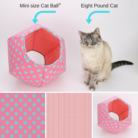 The mini size Cat Ball cat bed is good for kittens and small cats, or tiny dogs