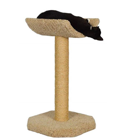 Tall carpeted cat tree with a curved cradle sleeping platform, made by Molly and Friends