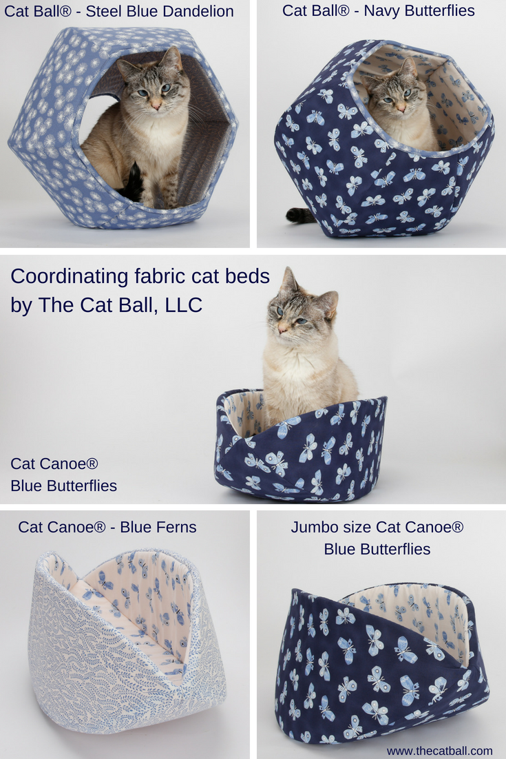 Coordinating cat beds in navy blue, stone blue, and white. Made by The Cat Ball, LLC in Washington.