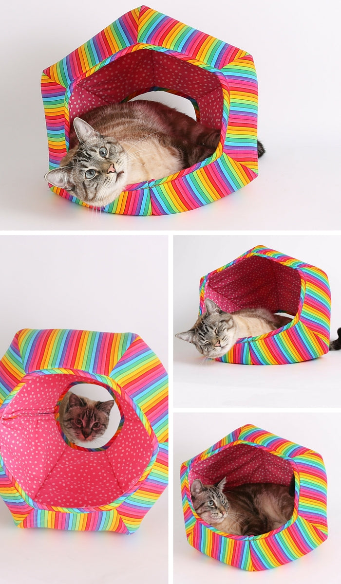 The CAT BALL cat bed made for the Nyan Cat in rainbow fabric. The Cat Ball is a cave style bed for cats.