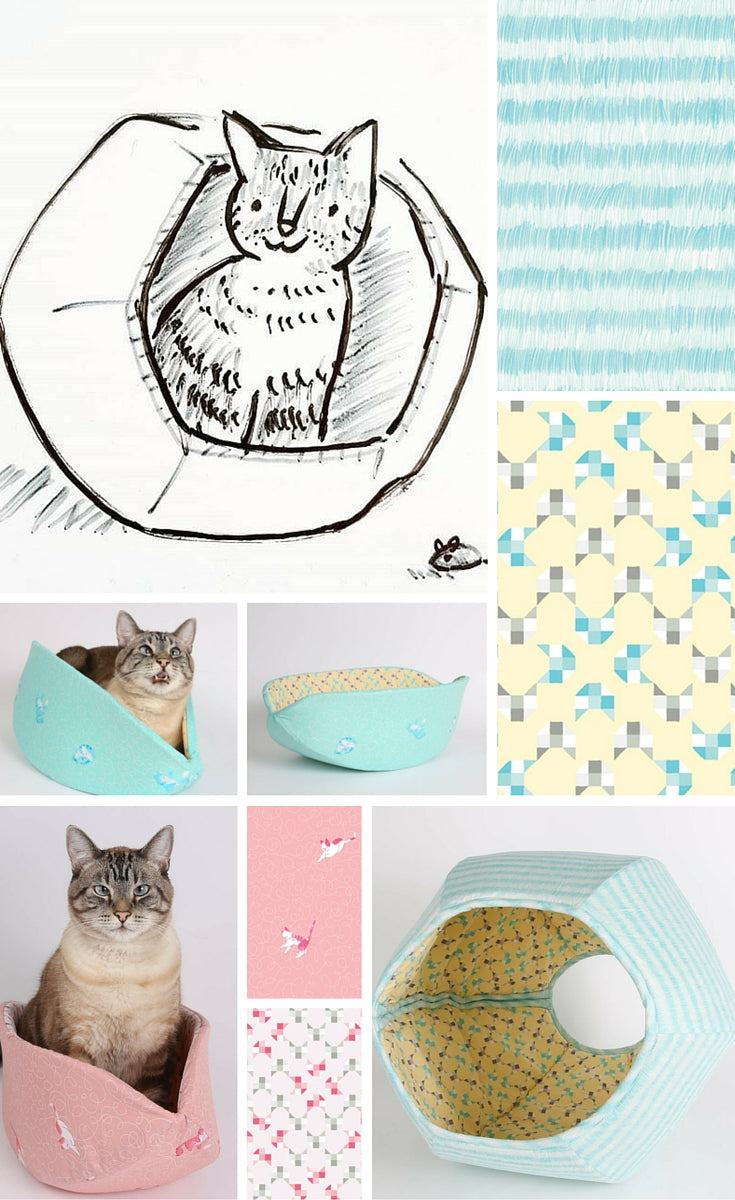 The Cat Ball and the Cat Canoe cat beds are made with fabric designed by Penguin and Fish.