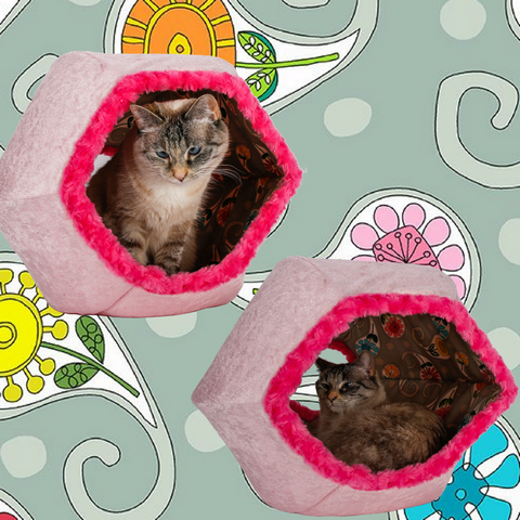 The Cat Ball made in pink velvet with a grey floral paisley fabric lining